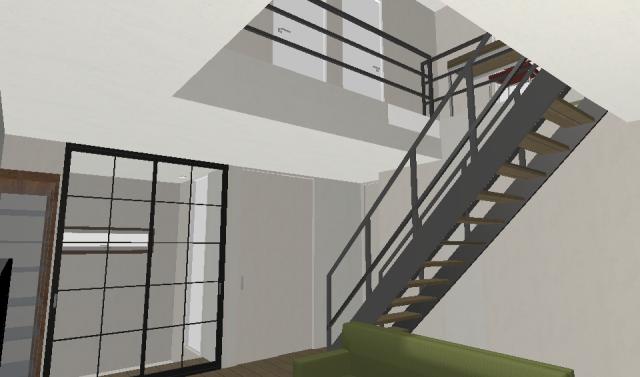 階段、玄関あたり
